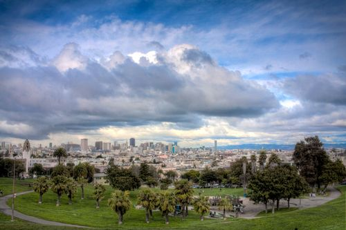 Clouds over the soon-to-be-closed Dolores Park